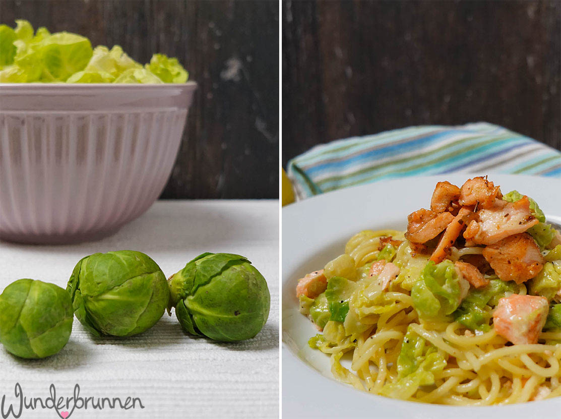 Lachs-Nudeln mit Rosenkohl - Wunderbrunnen - Fotografie - Foodblog