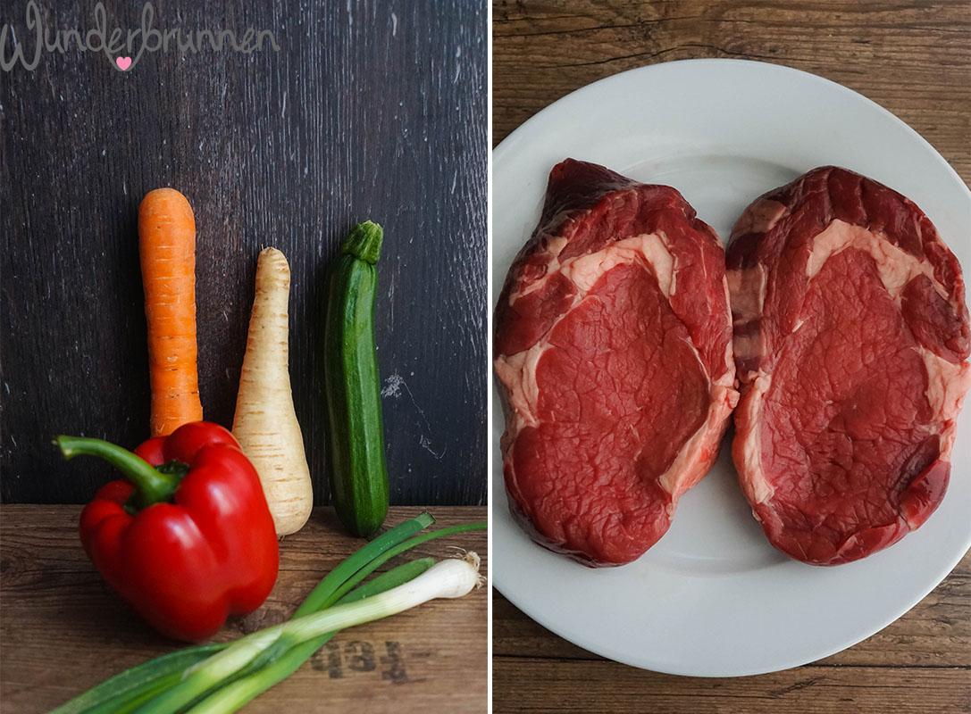 Collage Ribeye-Steak und Gemüse - Wunderbrunnen - Foodblog - Fotografie