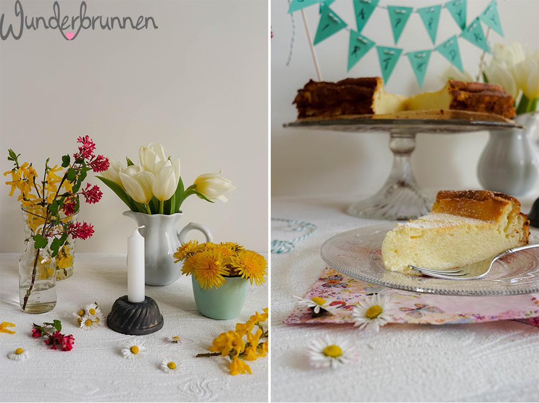 Käsekuchen - Kuchenstueck und Blumen - Wunderbrunnen - Foodblog - Fotografie