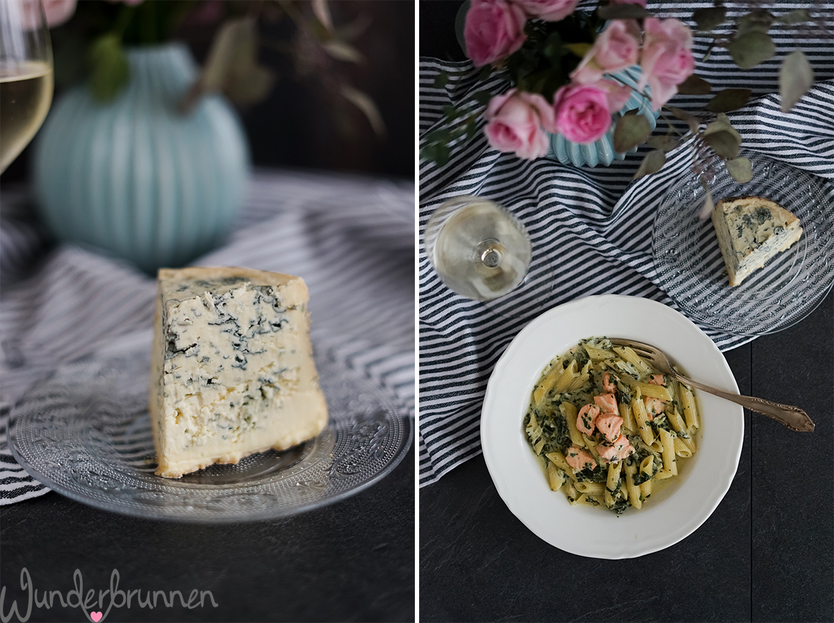 Lachs-Spinat-Nudeln mit Fourme d'Ambert - - Wunderbrunnen - Foodblog - Fotografie